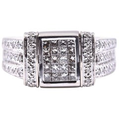 14 Karat White Gold Diamond and Blue Diamond Flip Top Ring
