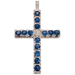 14 Karat White Gold Diamond and Blue Sapphire Cross Pendant