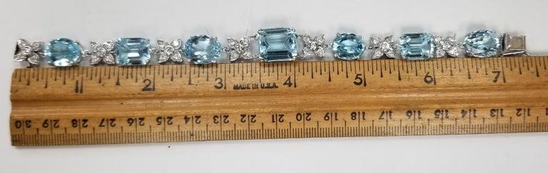 Women's or Men's 14 Karat White Gold Diamond and Blue Topaz Bracelet For Sale