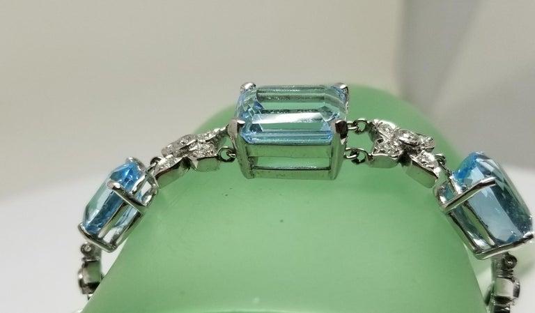 14 Karat White Gold Diamond and Blue Topaz Bracelet For Sale 3