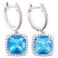 14 Karat White Gold Diamond and Blue Topaz Drop Earrings