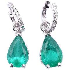 14 Karat White Gold Diamond and Emerald Drop Earrings