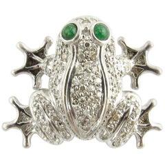 14 Karat White Gold Diamond and Emerald Frog Brooch or Pendant