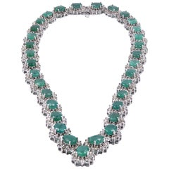14 Karat White Gold Diamond and Emerald Necklace