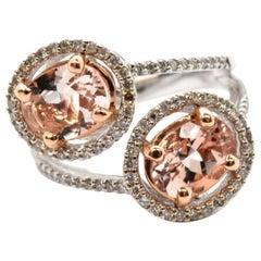 14 Karat Weißgold, Diamant und Morganit zeitgenössischen Mode-Ring