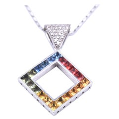 14 Karat White Gold Diamond and Multicolored Sapphire Necklace