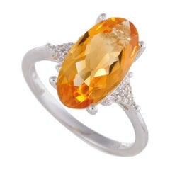 14 Karat White Gold Diamond and Oval Citrine Ring