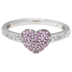 14 Karat White Gold Diamond and Pink Sapphire Heart Ring