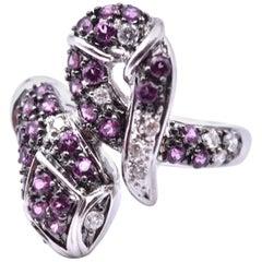 14 Karat White Gold Diamond and Pink Tourmaline Snake Ring