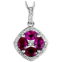 14 Karat White Gold Diamond and Ruby Flower Pendant Necklace