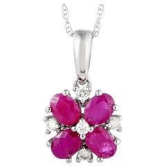 14 Karat White Gold Diamond and Ruby Flower Pendant Necklace