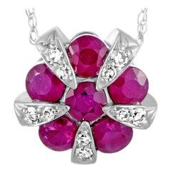 14 Karat White Gold Diamond and Ruby Round Pendant Necklace