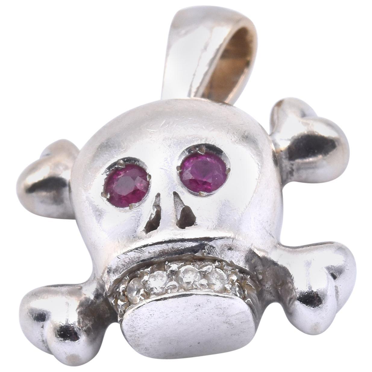 14 Karat White Gold Diamond and Ruby Skull Pendant