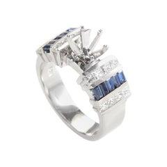 14 Karat White Gold Diamond and Sapphire Baguettes Ring