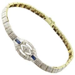 14 Karat White Gold Diamond and Sapphire Bracelet
