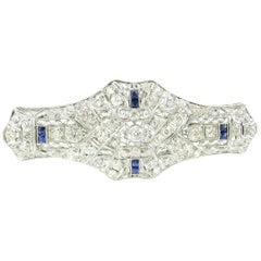 14 Karat White Gold Diamond and Sapphire Brooch or Pin