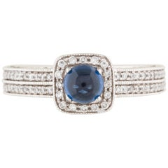 14 Karat White Gold Diamond and Sapphire Cocktail Ring