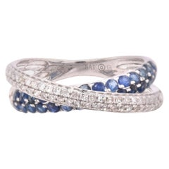 14 Karat White Gold Diamond and Sapphire Fashion Ring
