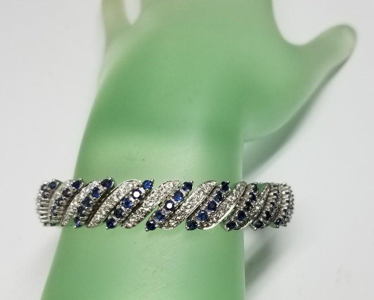 Women's or Men's 14 Karat White Gold Diamond and Sapphire Flexible Bracelet For Sale