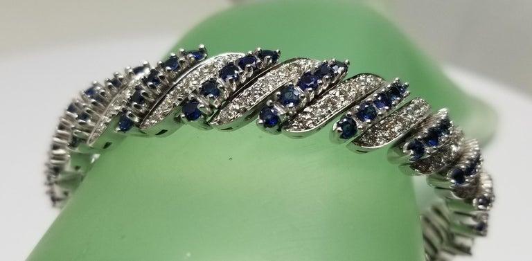 14 Karat White Gold Diamond and Sapphire Flexible Bracelet For Sale 1