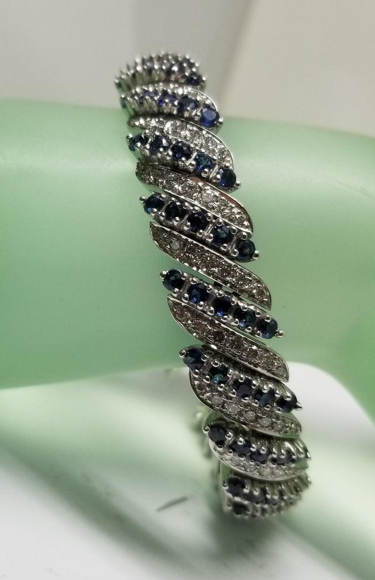 14 Karat White Gold Diamond and Sapphire Flexible Bracelet For Sale 2