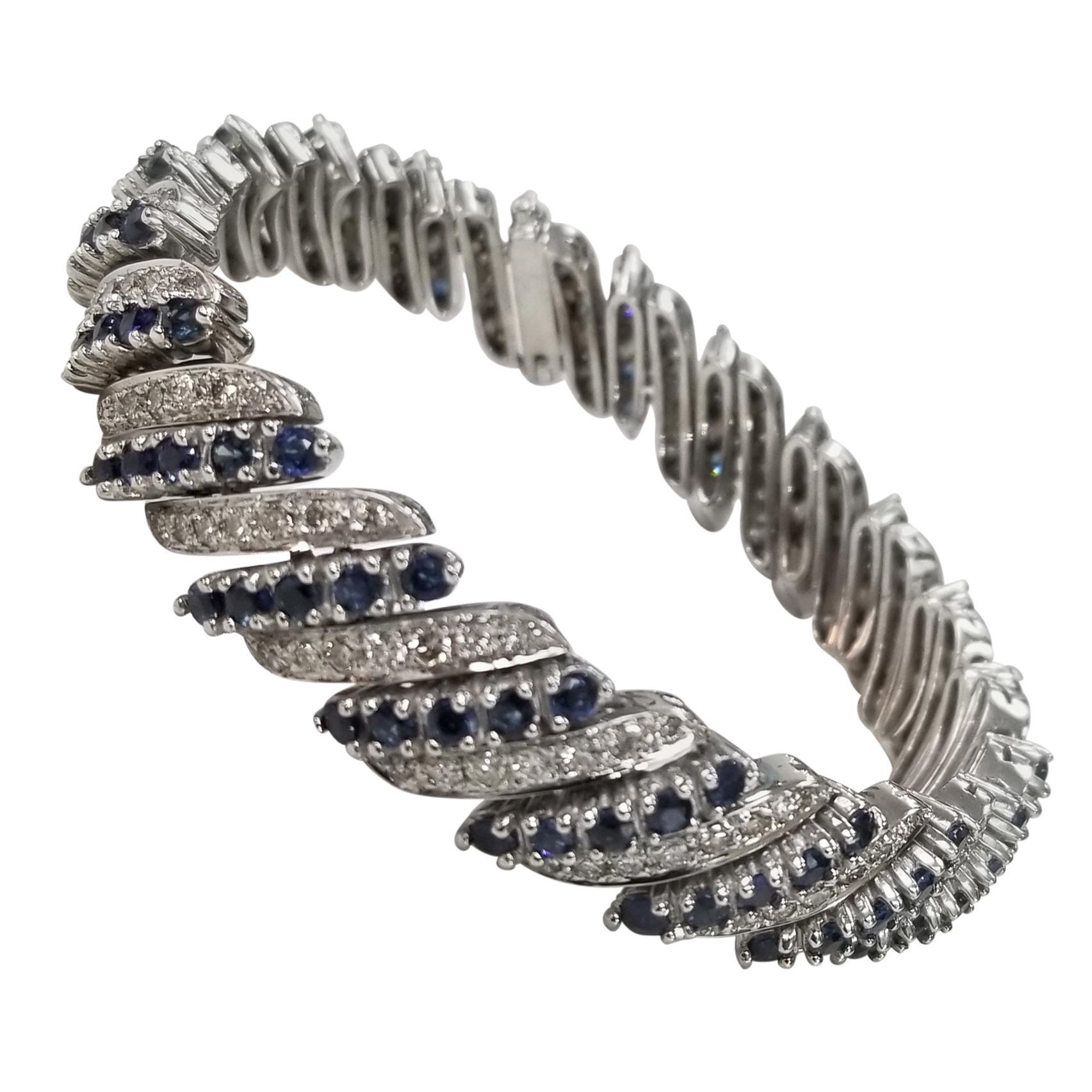 14 Karat White Gold Diamond and Sapphire Flexible Bracelet