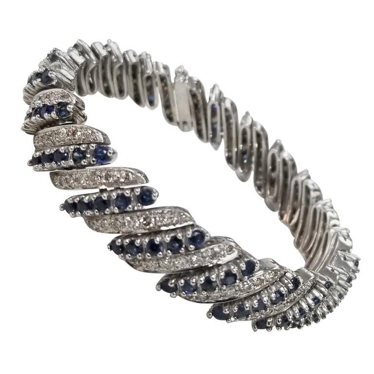 14 Karat White Gold Diamond and Sapphire Flexible Bracelet For Sale