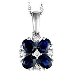 14 Karat White Gold Diamond and Sapphire Flower Pendant Necklace