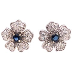 14 Karat White Gold Diamond and Sapphire Flower Stud / Button Earrings