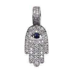 14 Karat White Gold Diamond and Sapphire Hamsa Pendant