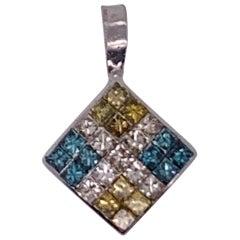 14 Karat White Gold Diamond and Sapphire Pendant