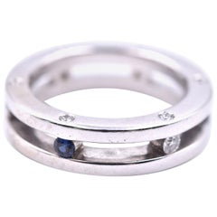 14 Karat White Gold Diamond and Sapphire Ring