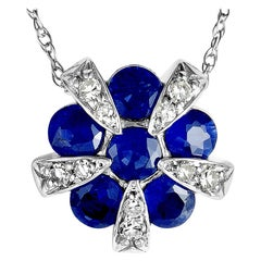 14 Karat White Gold Diamond and Sapphire Round Pendant Necklace
