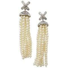 14 Karat White Gold Diamond and Sea Pearl Dangle Earrings