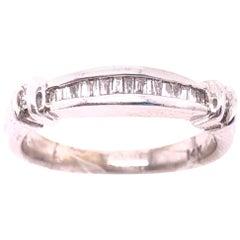14 Karat White Gold Diamond Baguette Wedding Bridal Anniversary Band Ring