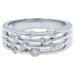 14 Karat White Gold Diamond Band Ring 0.35 Carat