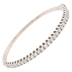 14 Karat White Gold Diamond Bangle Bracelet