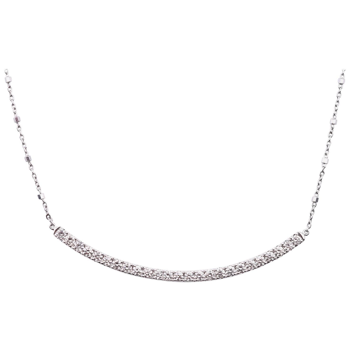 14 Karat White Gold Diamond Bar Necklace