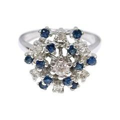 14 Karat White Gold Diamond Blue Sapphire Ring