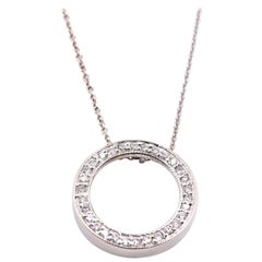 14 Karat White Gold Diamond Circle of Life Necklace