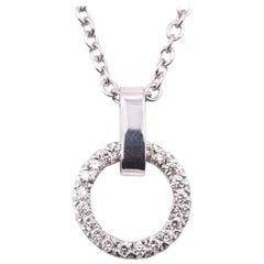 14 Karat White Gold Diamond Circle of Life Necklace