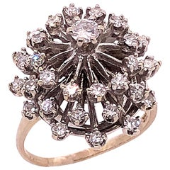 14 Karat White Gold Diamond Cluster Cocktail Ring