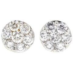 14 Karat White Gold Diamond Cluster Earrings 1.4 Carat