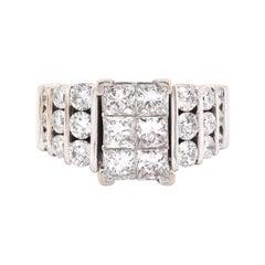 14 Karat White Gold Diamond Cluster Engagement Ring