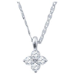 14 Karat White Gold Diamond Cluster Pendant