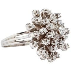 14 Karat White Gold Diamond Cluster Ring 2.15 Carat
