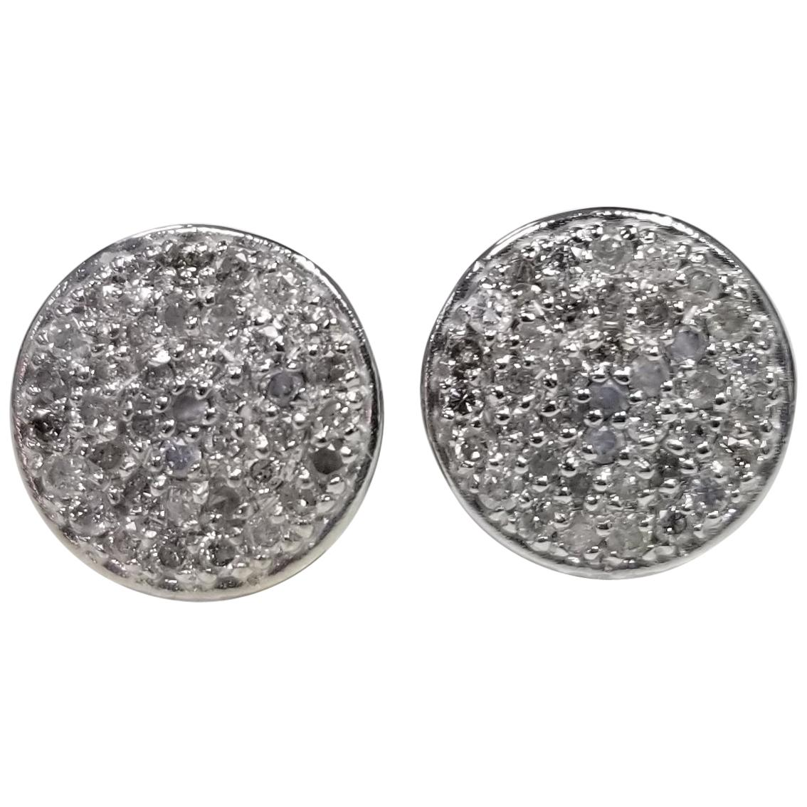 14 Karat White Gold Diamond Cluster Round Earrings Pave' Set