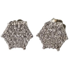 14 Karat White Gold Diamond Cluster Stud Earrings .80pts