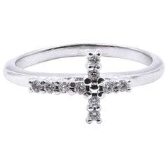 14 Karat White Gold Diamond Cross Band