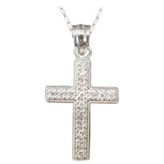 14 Karat White Gold Diamond Cross